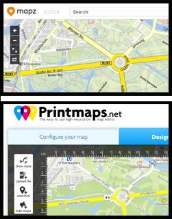 Mapz.com Editor für Stadtpläne zum Ausdrucken