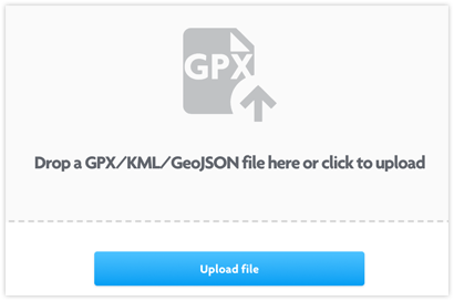 Upload KML, GPX or GeoJSON
